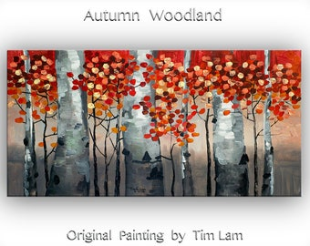 Sale Original art Abstract Painting large Oil Painting, aspen tree art fall Landscape Painting Red Forest by tim lam 48x24x1.3