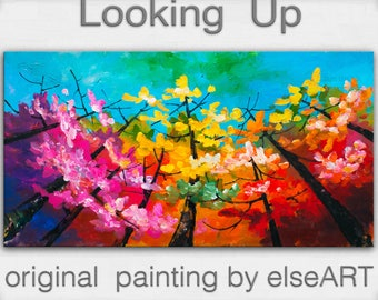 Looking Up tree painting Changing Season large abstract art wall art gallery art modern art canvas art by Tim Lam 48x24