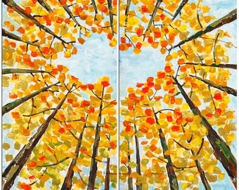 Original Landscape painting Forest skyline Art golden fall colors on gallery wrap canvas Ready to hang by tim Lam 48x48