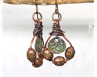 Copper dangle earrings, Urban primitive earrings copper, Gypsy earrings, Wire wrapped earrings with African copper beads, Neutral colors