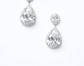 Modern Minimalist Bridal Earrings Diamante Teardrop Cocktail Earrings