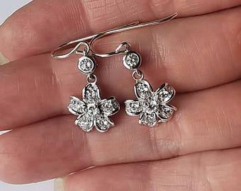 Modern Minimalist Bridal Earrings Sterling Silver Diamante Flower Cocktail Earrings