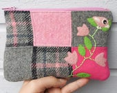 Zippered pouch purse pink gray wool patchwork with a needle felted birdie bird flowers