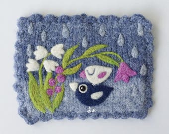Wall hanging felted light blue wool fiber art hand knit with needle felted birdie birds flowers rain