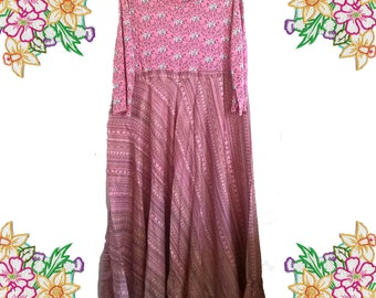 Floaty Silk.  Upcycled Dress. Size Medium / Large. Long pink cotton and silk dress.