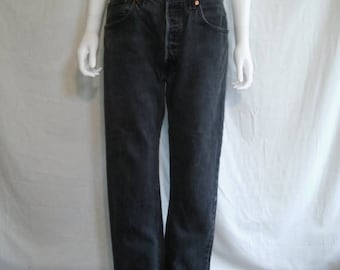 90's LEVIS faded black grey gray jeans 501 button up  W 34  waist