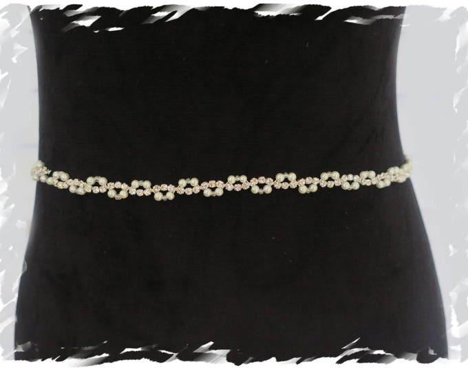 Art Deco inspired Bridal Pearl Belt Wedding Crystal Sash Thin Rhinestone Wedding Dress Belt Extra Long Silver Gold Satin Tie Back Ribbon