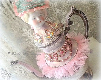 Pretty In Pink Romantic Teapot Art Doll  Blonde China Head Doll Mixed Media Assemblage Pink Rhinestones OOAK Art Doll