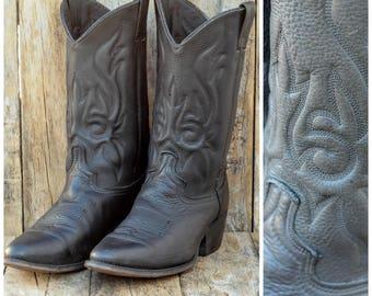 men Us 9.5, Uk 9, Eu 42, Durango Boots, Black Western Boots, Black Cowboy Boots, Biker Boots, Rubber Sole Boots, USA, Motorcycle Boots