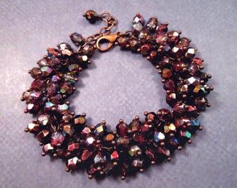 Copper Cha Cha Bracelet, Elderberry Wine, Fire Polished Glass Beaded Bracelet, Wire Wrapped Charm Bracelet, FREE Shipping U.S.