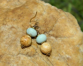 Black Gold Amazonite and Picture Jasper Earrings