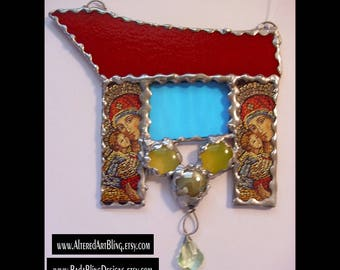 Madonna and Child, stained glass suncatcher, mixed media art,Catholic art, Mary, Madonna, glass art,religious art, collage sheets