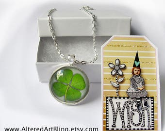 4 Leaf Clover pendant and WISH gift tag, illustration pendants,Ready To Ship in a  gift box,gifts under 20 dollars, St Patrick's Day jewelry