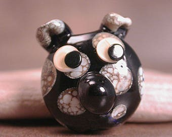 Lampwork Glass Focal Bead Dog Face Black & Ivory Spots Divine Spark Designs SRA