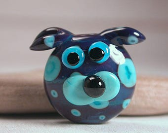 Dog Face Focal Bead Lampwork Purples with Turquoise Blue Spots Divine Spark Designs SRA