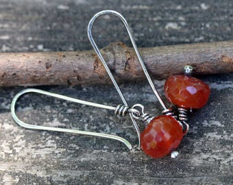 Orange carnelian sterling silver dangle earrings