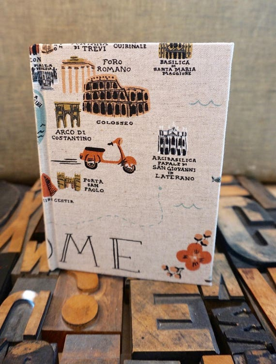 Fabric Covered Journal - Small Lined with Rome Theme