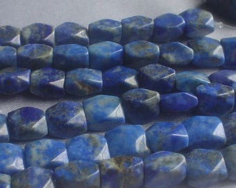natural gemstone lapis lazuli navy blue facet square bead 9x10 mm / 7.5 inch
