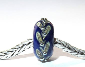 Luccicare Lampwork Bead - Royal Twig -  Lined with Sterling Silver