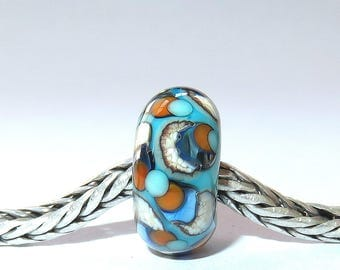 Luccicare Lampwork Bead - Retro I -  Lined with Sterling Silver