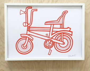 New Red Chopper Bike Screen Print by Jane Foster  - hand printed signed
