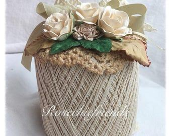 Ecru Tan Crochet Spool Thread PUMPKIN Shabby Chic Roses ECS SVFTeam