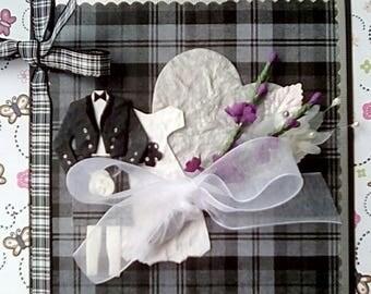 Scottish Wedding Luxury Congratulations Card -Grey Tartan