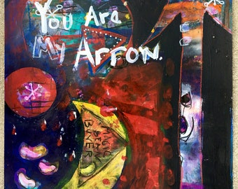 "Original ""Arrow""  Painting,  Mixed-media, Visionary, Intuitive, Shamanic, Acrylic, Watercolor, Love, Magic."