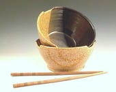 Noodle Bowls - Set of 2 - Wheel Thrown Ceramic - Stoneware Chopstick Dishes - Soup Bowls - Great Gift - Ready to Ship - Straw / Temmoku b378