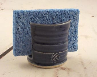 Ceramic Sponge Drying Bowl - Sponge Holder -  Stoneware Kitchen Accessory - Paper Napkin Caddy - Royal Cobalt Blue - Ready to Ship h490