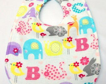 Baby Girl Bib, Baby Shower Gift, Welcome Baby Gift. New Mom Gift: Colorful ABCs and Animals on White