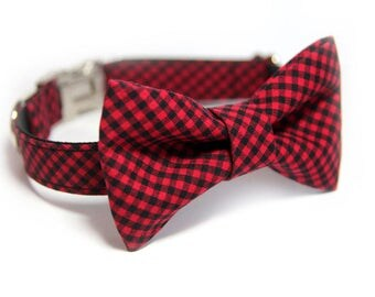 Bufalo Check BowTie Dog Collar, Red Mini Check Dog Collar, Personalized Collar option, Formal Bow Tie Collar, Red Mini Buffalo Plaid