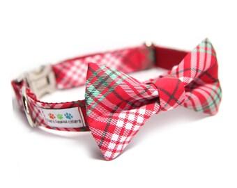 BowTie Collar, Red Plaid Bow Tie Collar, Tartan Dog Collar, Jolly Tartan