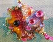 Carnival Shell Glass Lampwork Fantasy Conch Pendant Bead by Helen's Harvest