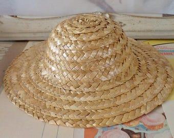 Vintage / One Dozen Straw Hats / Eight Inch Diameter / Large Doll Hats