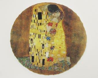"Mosaic China Focal Tile Gustav Klimt ""The Kiss"" Art Nouveau People Faces Lovers"