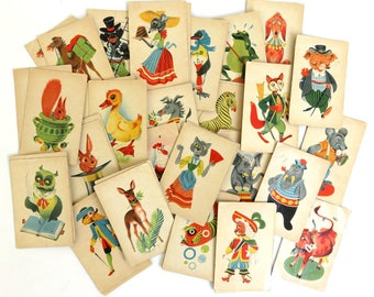 Vintage 1950s Old Maid Card Game, Complete Set Dutch Anthropomorphic Animals Flash Cards w Box, Paper Ephemera Lot 47 picture cards