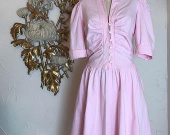 1980s dress pink dress puff sleeves dress size large vintage dress cotton dress 40 bust dress with pockets