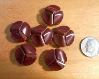 Vintage Buttons 1950-60 Maroon brown tone, 6-- 3/4 inch