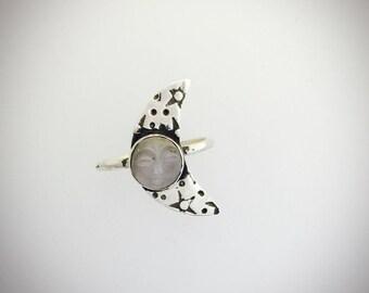Moon Face Moonstone Ring-Dainty ring-Vegan Ring-Gemstone Ring-Moonstone Ring-Vegan Jewelry-Birthday-Anniversary-Hippie ring-Half Moon Ring