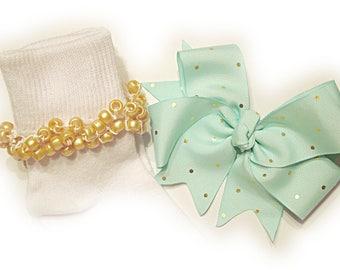 Kathy's Beaded Socks - Light Aqua with Gold Dots Socks and Hairbow, holiday socks, pony bead socks, gold socks, pearl socks, holiday socks