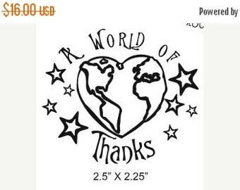 Xmas in July A World of Thanks Rubber Stamp 012