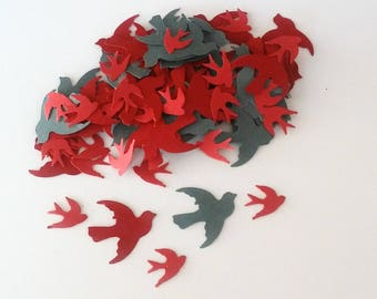 Dove Confetti 1 Inch and 5/8 Inch Bird Die Cuts Red Gray Cut Outs, Wedding Table Decor, Ready to Ship