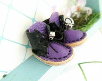 RESERVED Mini Black And Purple Leather Lace Up Blythe Doll Boots Azone Pure Neemo M S