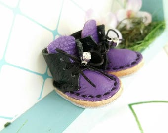 Mini Black And Purple Leather Lace Up Blythe Doll Boots Azone Pure Neemo M S