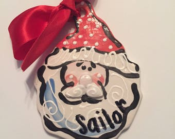 Hand Painted ceramic Santa Claus Christmas ornament personalized for you
