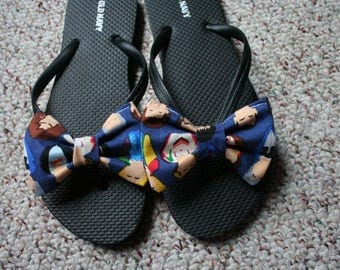 Dr Who The Doctor Flip Flop Sandals fabric handmade to your shoe size