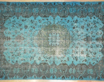 Carpet Turquoise Rug Overdyed Vintage Floral 5.5' x 9'