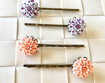 Cabochon Flower Hair Pin, Flower Hair Pin, Handmade Hair Pin, Flower Bobby Pin, Hair Accessories, Pink Hair Pin, Purple Hair Pin