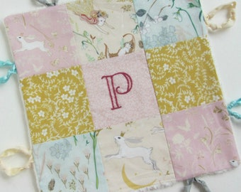 Baby Lovey Girl Blanket with Custom Hand Embroidery Name Or Initial ~Choice of Fabric Backing ~Flowers Pink Mustard Ivory Aqua ~Bunny Fairy